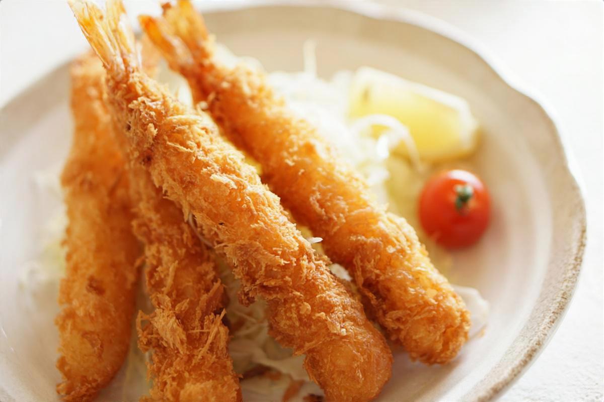 魚焼きグリルでエビフライ