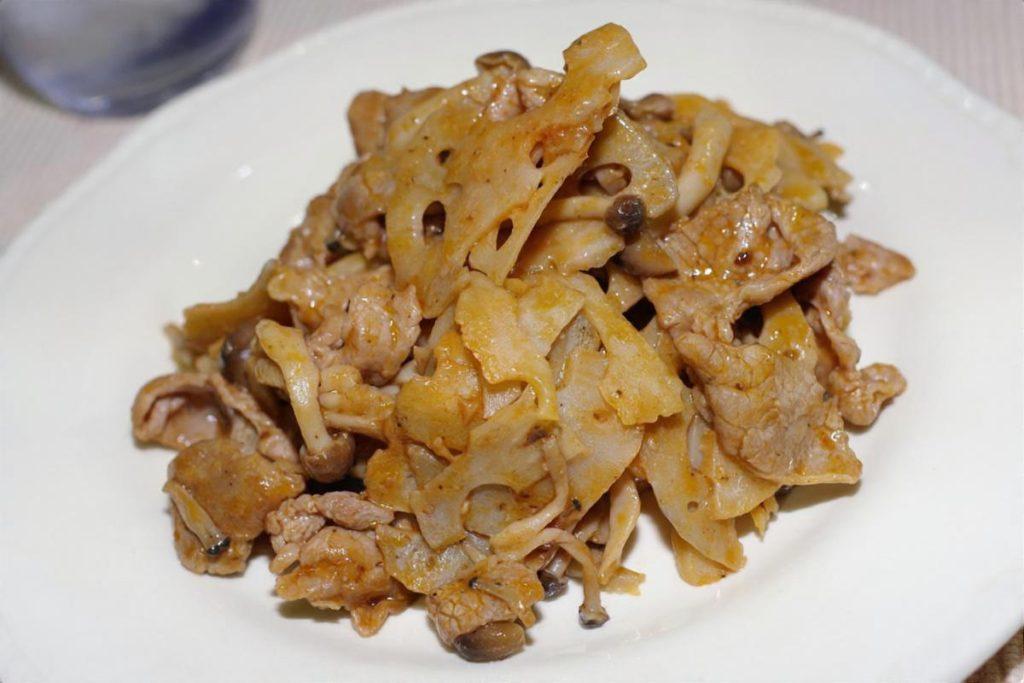 れんこんと豚肉のピリ辛炒め