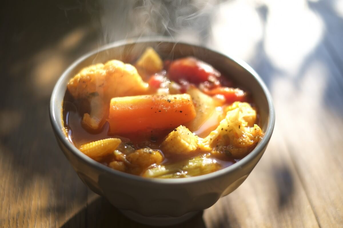 鶏ひき肉とたらこカリフラワースープ