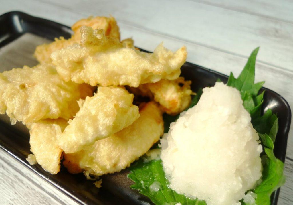 大根と鶏むね肉の天ぷら