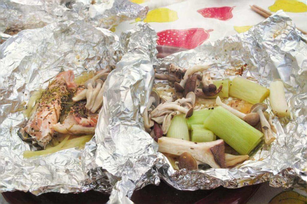 コンビーフと野菜のホイル焼き